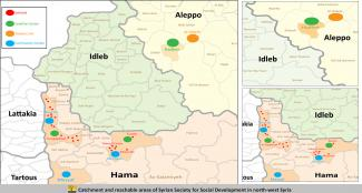 Catchment and reachable areas of Syrian Society for Social Development in north-west Syria