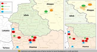 Catchment and reachable areas of Syrian Society for Social Development in north-west Syria 1